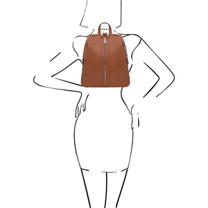 Women Posing With The Cognac Italian Leather Backpack
