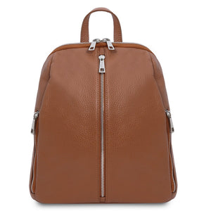 Front View Of The Cognac Italian Leather Backpack