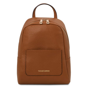 Front View Of The Cognac Womens Soft Leather Backpack