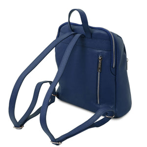 Rear View Of The Dark Blue Italian Leather Backpack