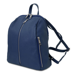 Angled And Shoulder Straps View Of The Dark Blue Italian Leather Backpack