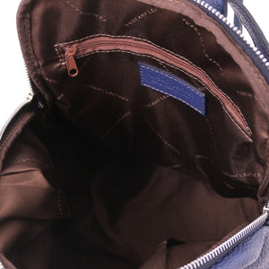 Internal Features View Of The Dark Blue Italian Leather Backpack