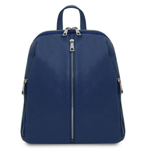 Front View Of The Dark Blue Italian Leather Backpack