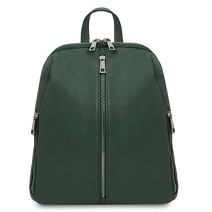 Front View Of The Forest Green Italian Leather Backpack