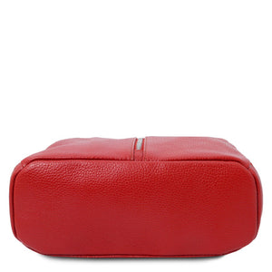 Underneath View Of The Lipstick Red Italian Leather Backpack