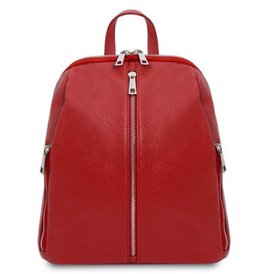 Front View Of The Lipstick Red Italian Leather Backpack