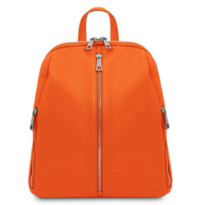 Front View Of The Orange Italian Leather Backpack