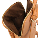 Internal Pocket View Of The Cognac Leather Backpack Ladies