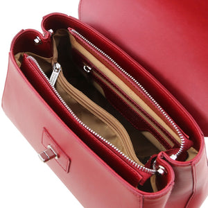 Internal Zip Pockets View Of The Red Womens Duffle Bag