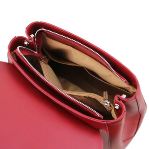 Internal Pockets View Of The Red Womens Duffle Bag