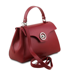 Angled And Shoulder Strap View Of The Red Womens Duffle Bag
