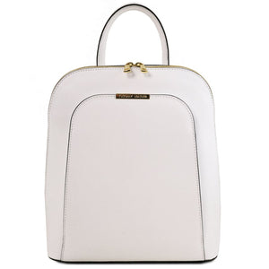 Front View Of The White Womens Leather Backpack
