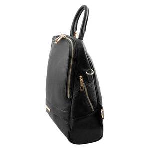 Angled View Of The Black Womens Leather Backpack
