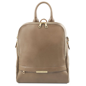 Front View Of The Dark Taupe Womens Leather Backpack