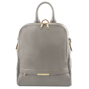 Front View Of The Grey Womens Leather Backpack