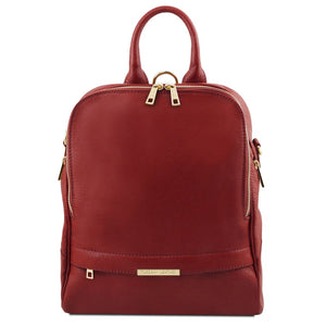 Front View Of The Red Womens Leather Backpack