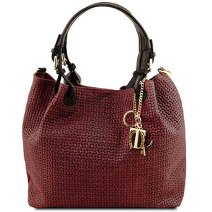 Front View Of The Bordeaux Woven Leather Bag