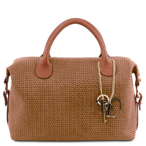 Front View Of The Cinnamon Fashionable Duffle Bag