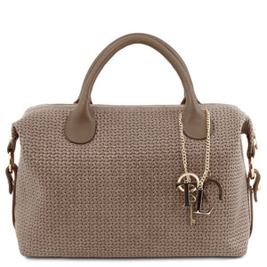 Front View Of The Dark Taupe Fashionable Duffle Bag