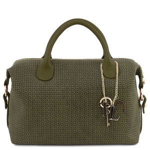 Front View Of The Forest Green Fashionable Duffle Bag