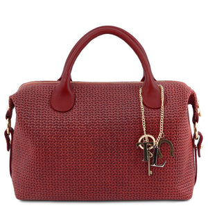 Front View Of The Red Fashionable Duffle Bag