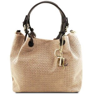 Front View Of The Beige Woven Leather Bag