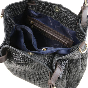 Internal Zip Pocket View Of The Black Woven Leather Bag