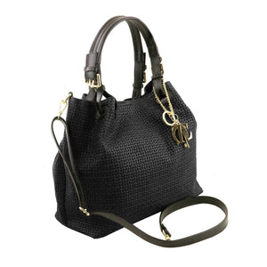 Angled And Shoulder strap View Of The Black Woven Leather Bag
