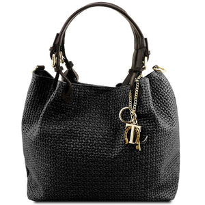 Front View Of The Black Woven Leather Bag