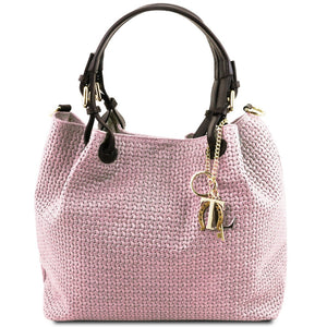Front View Of The Lilac Woven Leather Bag