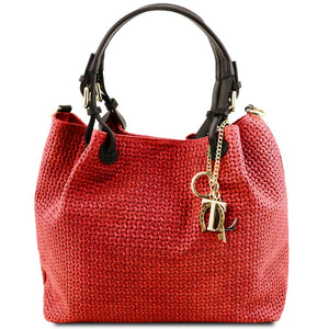 Front View Of The Lipstick Red Woven Leather Bag