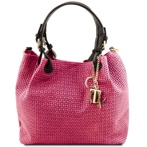 Front View Of The Magenta Woven Leather Bag