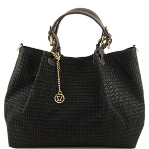 Front View Of The Black Woven Leather Shoulder Bag
