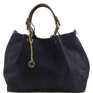 Front View Of The Dark Blue Woven Leather Shoulder Bag