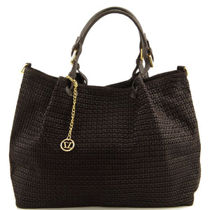 Front View Of The Dark Brown Woven Leather Shoulder Bag