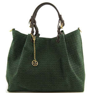 Front View Of The Dark Green Woven Leather Shoulder Bag