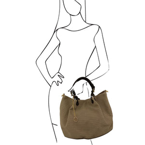 Women Posing With The Dark Taupe Woven Leather Shoulder Bag