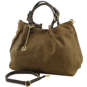 Angled And Shoulder Strap View Of The Dark Taupe Woven Leather Shoulder Bag