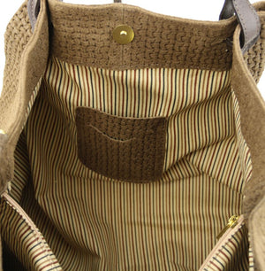 Internal View Of The Dark Taupe Woven Leather Shoulder Bag