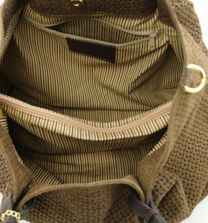Internal Compartment View Of The Dark Taupe Woven Leather Shoulder Bag