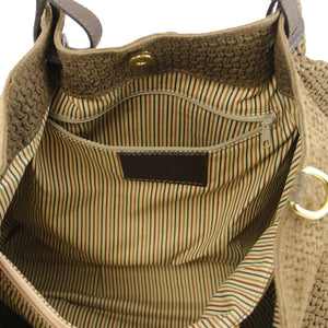 Internal Zip Pocket View Of The Dark Taupe Woven Leather Shoulder Bag