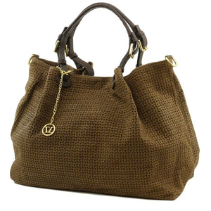 Angled View Of The Dark Taupe Woven Leather Shoulder Bag