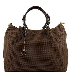 Front View Of The Dark Taupe Woven Leather Shoulder Bag