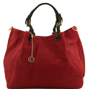 Front View Of The Red Woven Leather Shoulder Bag