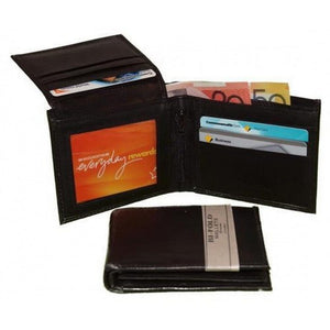 Open View of the Black Mens Leather Bifold Wallet