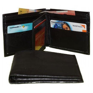 Front View Of The Black Mens Soft Leather Wallet