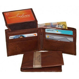 Features View Of The Brown Leather Slim Wallet