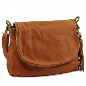 Right Angled View Of The Cognac Leather Tassel Bag