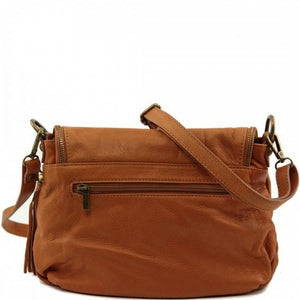 Rear View Of The Cognac Leather Tassel Bag