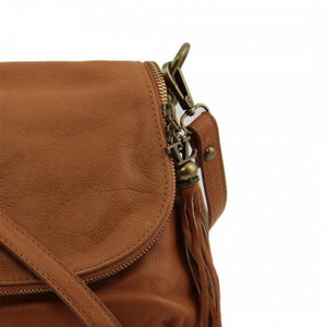 Shoulder Strap Attachment View Of The Cognac Leather Tassel Bag